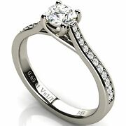 Solitare Diamond White Solid 18k Gold Engagement Wedding Ring With Side Diamonds