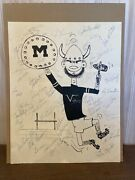 1965 Minnesota Vikings Team Autographed 1 Of A Kind Drawing By Uncle Bill 11x14