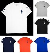 Polo Men Classic Fit Big Pony Crew Neck T-shirt Tee With 3 Patch.