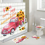 Red Truck Sunflower Shower Curtain Toilet Cover Rug Mat Contour Rug Set