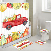 Red Truck And Pumpkins Shower Curtain Toilet Cover Rug Mat Contour Rug Set