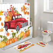 Autumn Red Christmas Truck Shower Curtain Toilet Cover Rug Mat Contour Rug Set