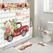 Red Truck And Roses Shower Curtain Toilet Cover Rug Mat Contour Rug Set