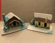Lot Of 2 Vintage Putz Style Paper Mica Village Houses Made In Japan