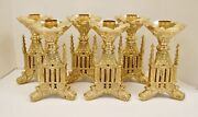 Set Of 6 Short Brass Gothic Altar Candle Sticks -34- Chalice Co.