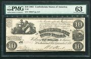 T-28 1861 10 Csa Confederate States Of America Currency Note Pmg Unc-63