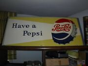 Original 1950and039s Pepsi Cola Soda Embossed Metal Sign Cut Down From 54 To 38ish