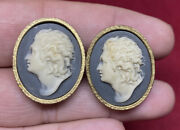 Vintage Dante Carved Incolay Cameo Beethoven Cufflinks Museum Collection