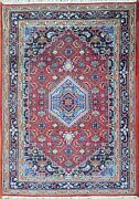 4' X 6'6 Rug | Traditional Hand Knotted Wool Serape Red Blue Area Rug
