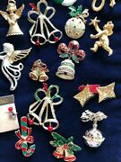 Vintage Christmas Jewelry Lot Brooch Earrings Pendant Some Signed Gerry's Coro