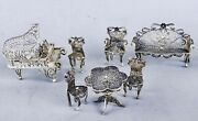 Antique Filigree Silver Furniture Set Miniature Doll House Early 20 Table Piano