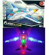 Kids Toys Aeroplane Airplane 3d Light Up Music Toy Bump And Go Action Plane Jet