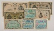 1930-1946 Japan 8-notes Currency Set // Domestic Banknotes And Ww2 Allied Military