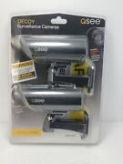 Realistic Decoy Dummy Outdoor Security Surveillance Camera W/ Warning Sign 2pack