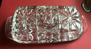 Vtg Anchor Hocking Butter Dish W/lid Cut Clear Glass Starburst
