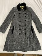 Dolce And Gabbana Sz 42 Wool Mohair Alpaca Long Double Breasted Houndstooth Coat