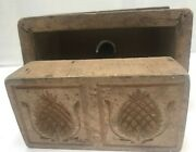 Antique Wooden 2 Piece Double Butter Mold Press Aafa Pineapple Wood Dovetail