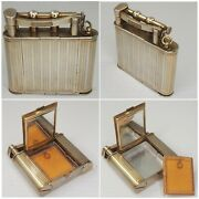 Dunhill Lighter - Powder Compact With Mirrorpuderdose - Silver Plated England
