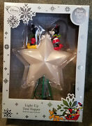Nib New Disney Store Mickey And Minnie Mouse Light-up Star Christmas Tree Topper