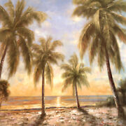 36wx36h Caribbean Waters By Paulsen - Palm Trees Ocean Sun Choices Of Canvas