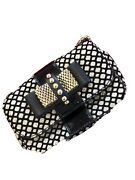 New Christian Louboutin Sweet Charity Spiked Shoulder/crossbody Bag Black/gold