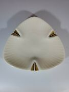 Vintage Triangle Shape Lenox Ashtray With 24k Decorated Gold Trim Made In Usa