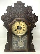 Antique Old 1870's Watch Collectible Wooden Case Made In Usa Waterbury Clock