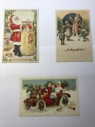 Antique Christmas Postcard Embossed Lot Of 3 With Case Santa Toys Children