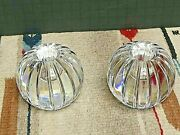Vintage Hand Made Hand Cut Orrefors Crystal Round Candlesticks Signed Mint