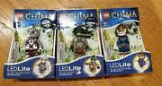 New Lego Chima Lot Of 3 Led Lite Light Keychain Laval Lion Worriz And Cragger