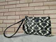 Coach 50523 Peyton Signature Dream C Black And White Coated Canvas Wristlet Wallet