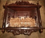 Large Antique Jesus Christ The Last Supper Mahogany Wood Carved Shadowbox