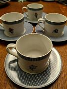 4 International China Susan Winget Cups And Saucers- Farmhouse Blues