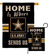 Home Is Where Us Army Burlap Garden Flag Armed Forces Gift Yard House Banner
