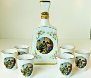 Vintage Alcobaca Portugal 7 Pc Set Liquor Decanter Vermouth With 6 Matching Cups