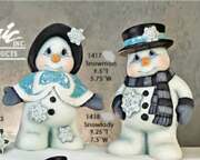 Pair Of Ceramic Bisque Hand-painted Snowman And Snowlady