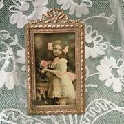 Miniature Vtg French Victorian Brass Photo Frame Ribbon Bow Glass Dolland039s House