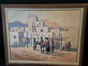 Large Original Paul Kuo Oil On Canvas Painting Native American Indian Pueblo
