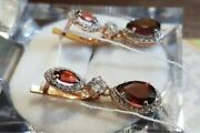Earrings With Large Garnet Lab Russian Gold Soviet Style Ussr Gift New