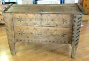 Primitive 1780and039s German/russia Bridal Trunk Hand Crafted With Engraved Symbols