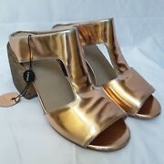 New Marsell 700 Distressed Metallic Copper Bock Heel T Strap Mule Italy Size40