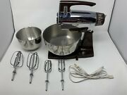 Vintage 1950s Stainless Steel Sunbeam Vista Mixmaster Mixer+bowls Beaters Cord