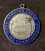 1950and039s Sterling Silver Hawaiian Canoe Paddling Championship Medal-collectible