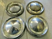 1955 Chevrolet 8 Bowtie Dog Dish Hubcaps 10 And 1/2 - Wall Hanger / Rat Rod