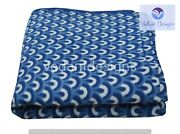 All Over Print Indian Hand Block Running 100 Cotton Blue Fabric 5 Yard