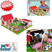 Childrens Toy Small Farm Yard Wooden 21pc Kids Toddler Play Set Animals Fences