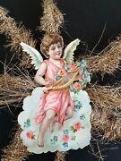 Antique Victorian Paper Angel With Tinsel Christmas Ornament