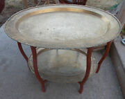 Mid Century Hammered Brass Table With Serving Tray