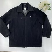 Lacoste Mens Sz 58 / 7 Full Zip Wool Coat Black Lined Quilted Interior Winter