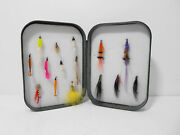 Vintage Wheatley Foam Lined Fly Box And Selection Of Trout Flies